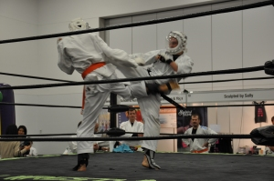 Sparring with Raghu at the Adelaide Sports and Fitness Expo